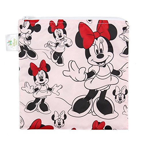 Bumkins Disney Minnie Mouse Sandwich Bag / Snack Bag, Reusable, Washable, Food Safe, BPA Free, 7x7