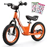 Enkeeo Balance Bike No Pedal with Adjustable Upholstered Seat, Soft Handlebars, Enhanced Tyres, Wide Footrests, DIY Stickers, Bell, Hand Brake, Carbon Steel Frame and Stand, Safe and Comfortable for Kids Toddlers ,14 inch, Orange