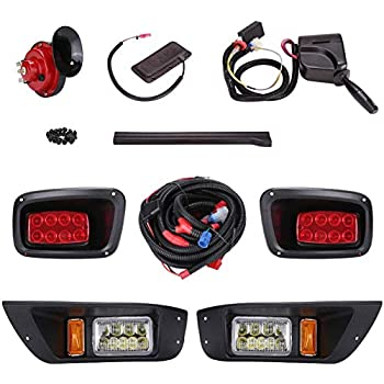Image of 10L0L Golf Cart Deluxe LED Head/Tail Light Kits for EZGO TXT (Year 1995-2015) with Universal Deluxe Light Upgrade Kit, with Turn Signals Switch Horn Brake Lights Harness Golf Cart Accessories