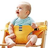 Gracelife Portable Chair Strap Baby Feeding Seat Belt Toddler Safety Harness Travel High Chair Booster, Pack with 1 Pacifier Clip for Free (Yellow)