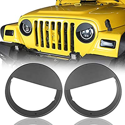 Hooke Road Jeep Wrangler Matte Black Angry Bird Headlight Bezels Cover for 1997-2006 Jeep Wrangler TJ - Pair: Automotive