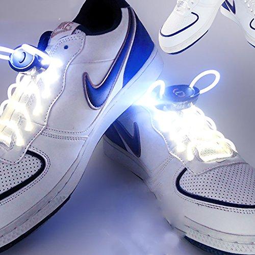 Welsun 80cm Glow Lacets Led Sport Chaussures Lueur Bâton Clignotant Néon Lumineux 1 Paire (couleur : Red) White