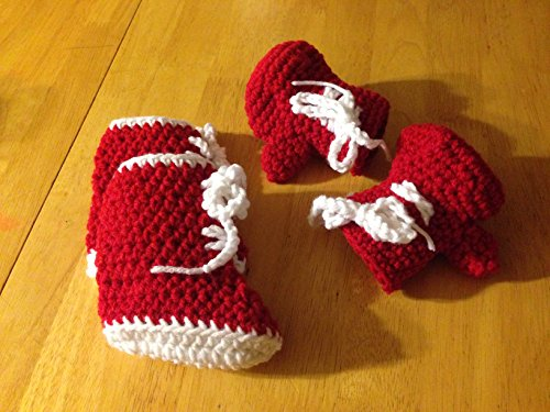0 - 6 Month red boxing gloves and Boots (Fancy Dress Boxing Gloves)