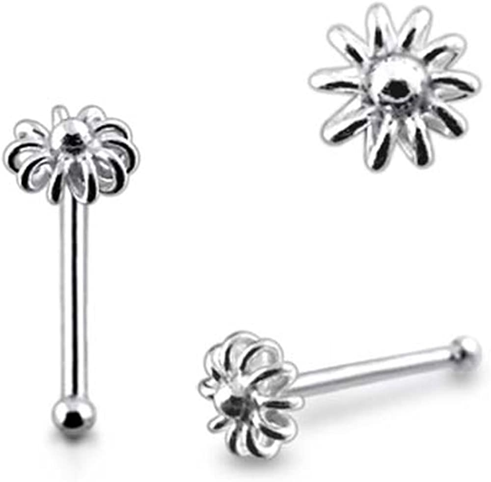 Ball End Nose Pin 0.8x6MM Pack of 5 Pieces Plain Flower 925 Sterling Silver 20Gx1//4