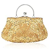 SIMANLI Polyester Beaded Women's Handbag Clutch, Evening Bag Clutch, Clutch Purse Shoulder Bag for Party Wedding Prom Ball (Gold)