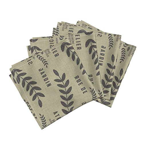 Roostery Burlap Text Linen Brown Black Organic Sateen Dinner Napkins Atelier_Bohã¨Mian by Holli Zollinger Set of 4 Dinner Napkins