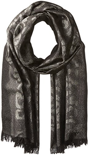 Badgley Mischka Women's Ocelot Lurex Jacquard Wrap Scarf, black/silver, One Size by Badgley Mischka
