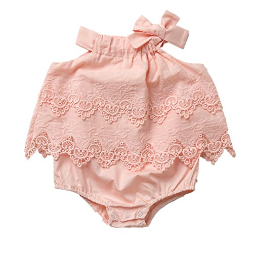 Colorful Childhood Newborn Baby Romper Girls Jumpsuit Infant Bodysuit Tutu Lace Dress Clothes Outfit Pink Size 0-6 Months (06 Peach Blossom)