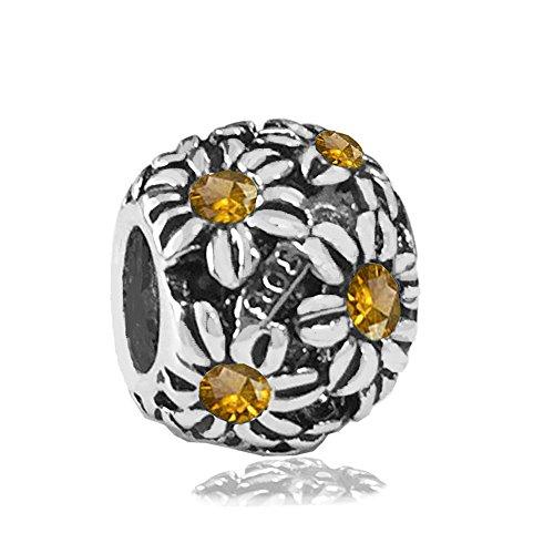 Sterling Silver Flower Bushel with Champagne Swarovski Crystal Charm, Fits Pandora, Jovana Bracelet