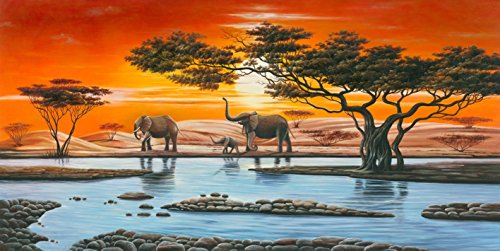 Wieco Art - Elephant Family Giclee Canvas Prints Wall Art Modern Extra Large Stretched and Framed African Landscape Animals Paintings Reproduction Pictures Artwork for Living Room Home Decorations L