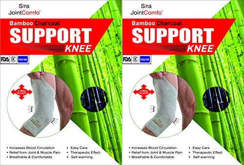 Sira Jointcomfo Bamboo Charcoal Knee Sleeves Sports   Joint Pain Relief for Unisex Combo Pack  2 Sleeves   Small