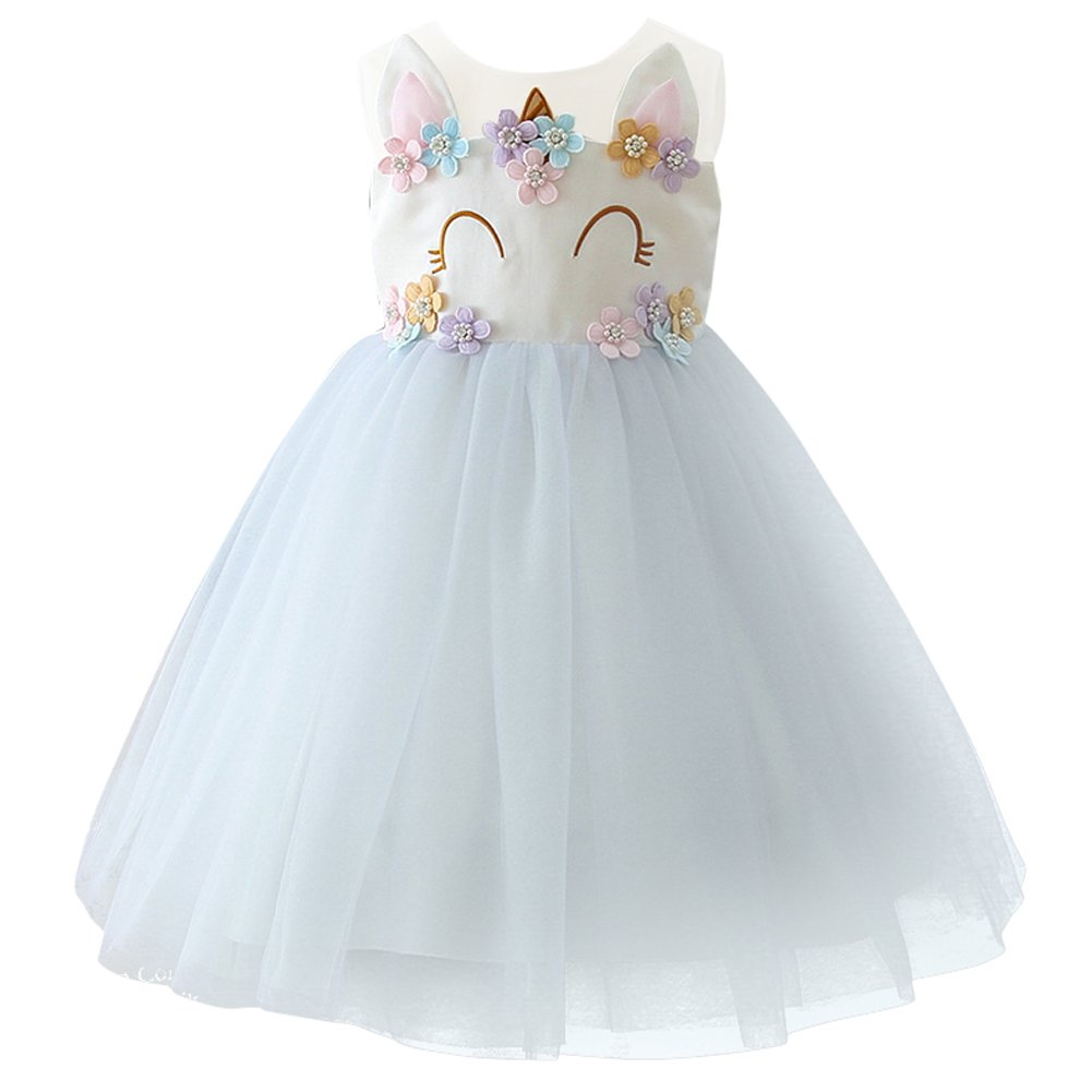 28c4729d23ce3 Flower Princess Girls Unicorn Birthday Pageant Party Rainbow Dress Up  Costume+Headband Dance Outfits Wedding Gowns