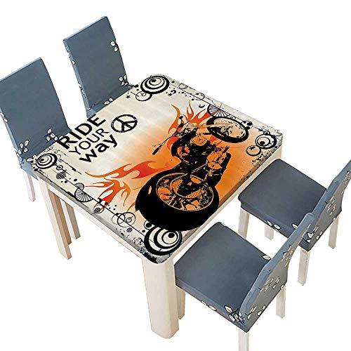 PINAFORE Fitted Polyester Tablecloth Motorcycle mage with Ride Your Way Text Peace Sign Freedom Acti Freestyle Bathroom Washable for Tablecloth 61 x 61 INCH (Elastic Edge)