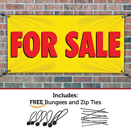 Sign Ball - HALF PRICE BANNERS | for Sale Vinyl Banner -Indoor/Outdoor 3X6 Foot -Yellow | Includes Ball Bungees & Zip Ties | Easy Hang Sign-Made in USA