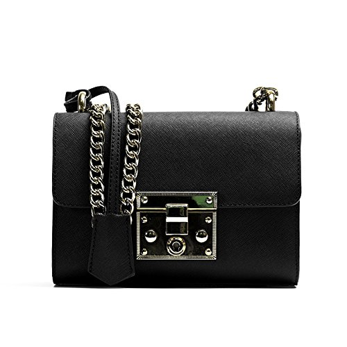 color Black square shopping buckle diagonal small fashion dating leather casual bag wild WUHX lock shoulder Leather bag solid bag qxPfXfwpRU