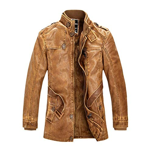 - Oudahood New Winter Men Leather Suede Jacket Yellow M