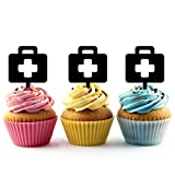 TA0612 Medical Bag Silhouette Party Wedding Birthday Acrylic Cupcake Toppers Decor 10 pcs