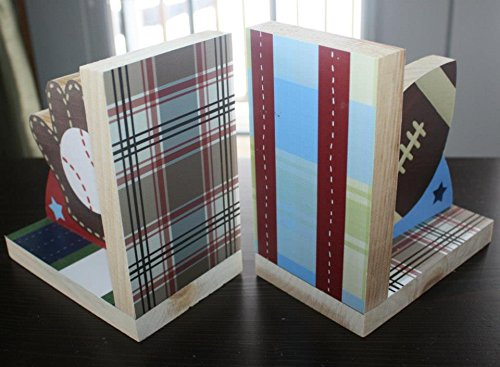 Sports Baseball Football Kids Bedroom Baby Nursery Wood Bookends BE0020 by Toad and Lily (Image #2)