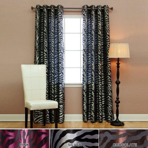 Room Darkening Zebra Jacquard Print Grommet Curtains