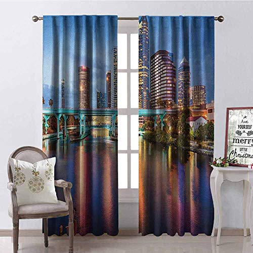 City Wear-Resistant Color Curtain Hillsborough River Tampa Florida USA Downtown Idyllic Evening at Business District Waterproof Fabric W42 x L63 Inch Multicolor -