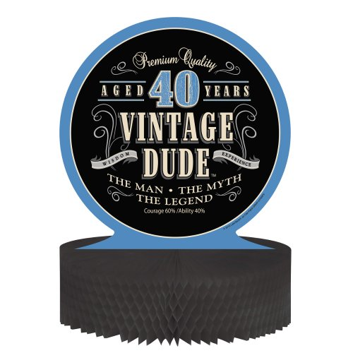 Creative Converting Vintage Dude 40th Birthday Centerpiece with Honeycomb Base