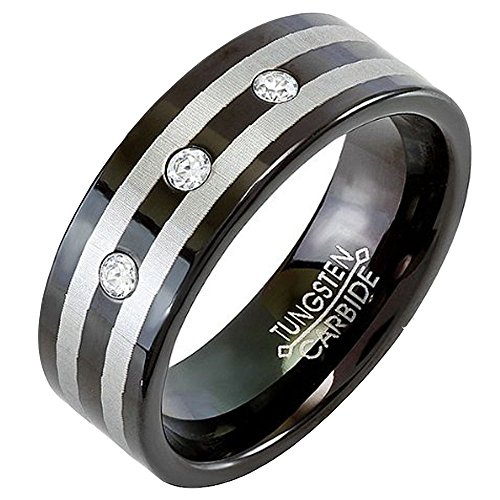 (Tungsten Carbide Men's Ladies Unisex Ring Wedding Band 8MM (5/16 inch) Black Double Stripe Flat 3 Stone Cubic Zirconia 0.10 CT CZ Comfort Fit (Available in Sizes 8 to 12) Size 8)