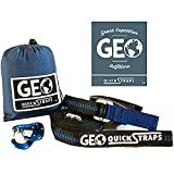 #2: Hammock Straps XL (2) Quickstraps for Camping & Hammocking W/2 Carabiners Set - Heavy Duty Portable Tree Friendly Easy Adjustable Hammock Accessories | Compatible w/all Camping Hammocks - By GEO