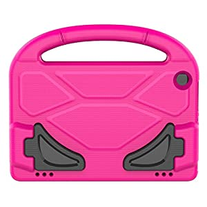 Kids Case for Kindle Fire HD 8 2017, MENZO Light Weight Shockproof Silicone Handle Stand Kids Friendly Case for Fire HD 8 inch (2017 released), Rose