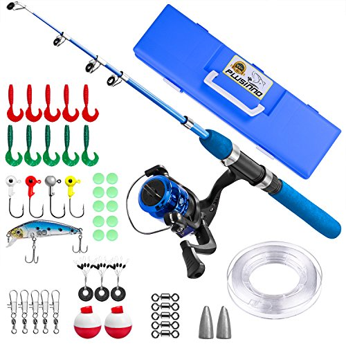 g Pole,Light and Portable Telescopic Fishing Rod and Reel Combos for Youth Fishing by (Blue Handle with Box, 115CM 45.27In) ()