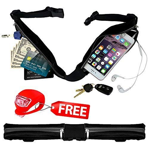 Belt4Run Running Activity Belt: Spacious, Lightweight, Waterproof Travel Fanny Pack with 2 Zippered Pockets, Adjustable to 42.5 Inch Waist in 4 Colors (Black)