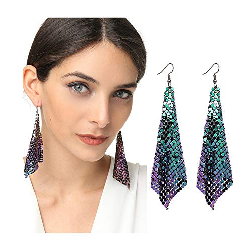choice of all Gold Sequin Mesh Dangle Earrings for Women Stylish Metal Mesh Grid Sequins Tassel Long Drop Dangle Earrings (C : Blue)
