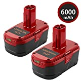2Pack 6.0Ah 19.2 volt Replacement Lithium Ion Battery for Craftsman C3 XCP 130279005 1323903 130211004 11045 315.115410 315.11485 130285003 11375 19.2V DieHard Cordless Power Tool Batteries