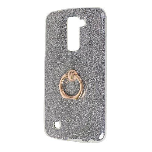 LG K10 Funda con Anillo, LG K10 Carcasa, Moon mood® Suave TPU + Papel Brillo Hybrid 2 en 1 con 360 Rotación Anillo Soporte Función Bling Glitter Sparkle Silicona Trasero Caso Cubierta Protectora Funda Negro