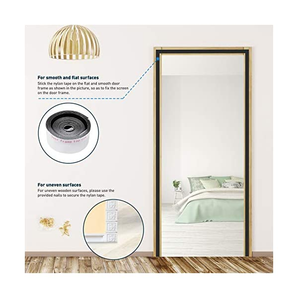 51L%2BomO3adL Magnet Fliegengitter Tür Vorhang für Holz
