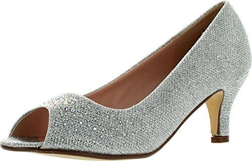 Bonnibel Wonda-2 Womens Peep Toe Low Heel Glitter Slip On Dress Pumps,Silver,6.5