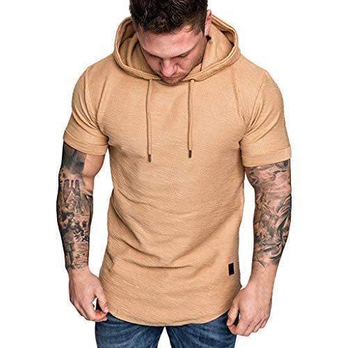 FEDULK Mens Hooded Pullover Slim Fit Plus Size Short Sleeve Casual Hoodies Sweatshirt Tops T-Shirt(Khaki, -