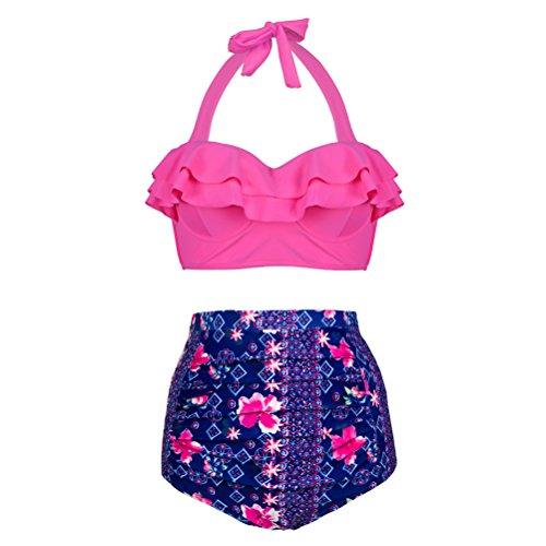 Happybai High Waisted Bikini Set Women's Ruffle Two Piece Swimsuit Bathing - 2 Shipping Day Bathing Suits