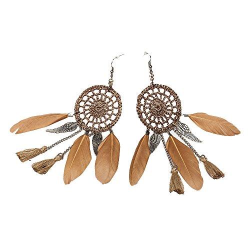LODDD 2019 New Bohemia Style Earrings Feather Beads Long Design Dream Catcher Earrings for Women Jewelry