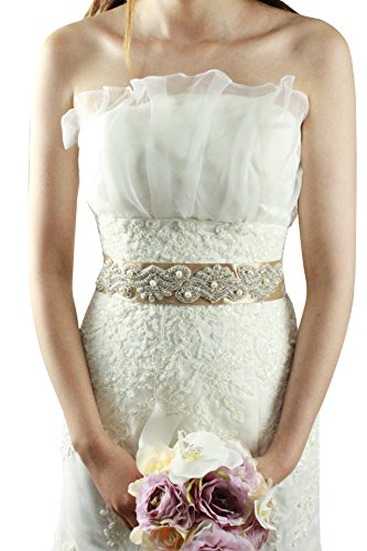 Champagne Belt (Leamandy Pearls Crystals Princess Wedding Sashes Bridal Belts A18 in 5 Colors)