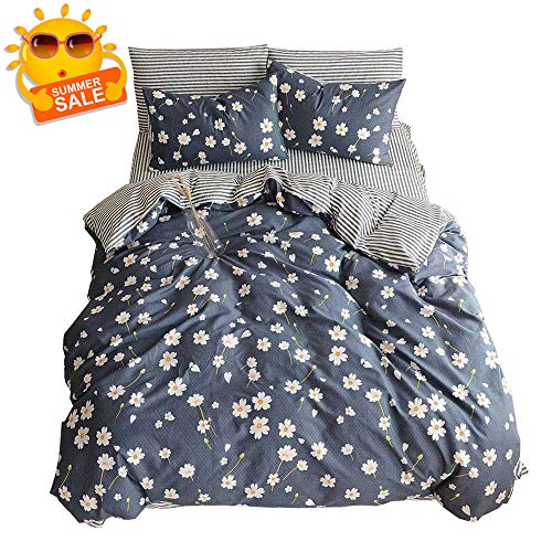 BuLuTu Vintage Floral 3 Pieces Girls Duvet Cover Set Queen Egyptian Cotton-Super Soft Stripe Kids Bedding Collections Full Navy Blue,Gifts for Daughter,Women,Child,Lover,Friend,Family,NO - Bedding Daisies