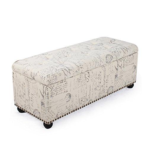 2015 Oct. NEW!! Adeco Linen Retangular Paris Vintage Retro Inspired Storage Ottoman Bench, Euro Script Grey, Nailhead Trim, 45-46