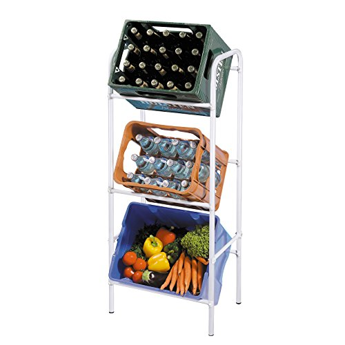 axentia Kastenregal für 3 Kästen, Getränkekistenständer für Küche, Keller oder Garage, silbernes Flaschenkastenregal, platzsparend, sicher, standfest, 116cm x 50cm x 30 cm