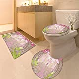 3 Piece Toilet Cover set Collection Princess Dressing in Palace Luxurious Design with Chandelier Fireplace De Extra Soft Memory Foam Combo - Rug, Contour Mat and Lid Cover