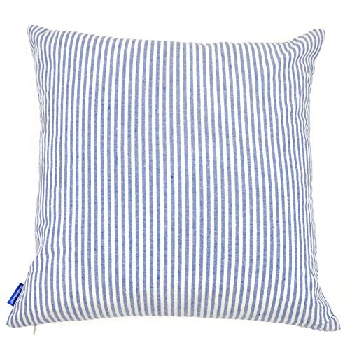 JES&MEDIS Cotton Stripe Decorative Square Throw Pillow Covers Set Cushion Case for Home Bed Car Office Club 18 x 18 Inch 45 x 45cm Blue and White