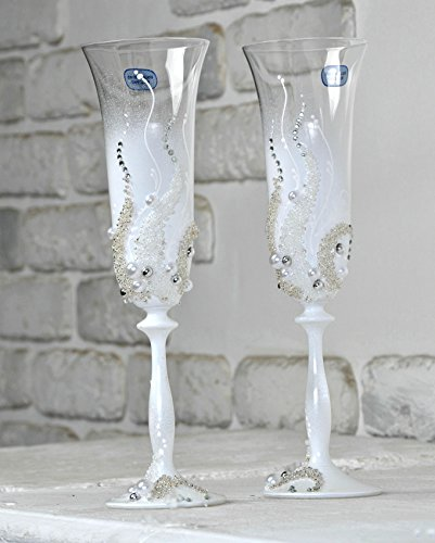 (Wedding Champagne |Toasting Flutes for party | Church wedding |Birthday table decorations |bridal table decorations |Glasses for His and Hers |Wedding décor idea (white, ornament with pearls) set of)