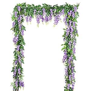 DearHouse 2Pcs 6Ft/Piece Artificial Flowers Silk Wisteria Garland Artificial Wisteria Vine Hanging Flower Greenery Garland for Home Garden Outdoor Wedding Arch Floral Decor (Purple) 54