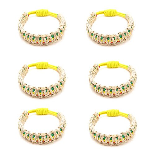 Frogsac 6 Pcs Rasta Hemp Braid Stretch Cord Bracelets - Great Party Favors -