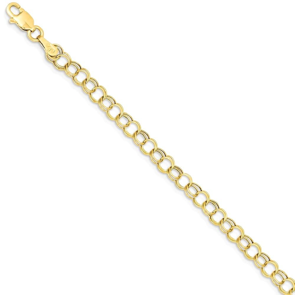 ICE CARATS 14k Yellow Gold Double Link Charm Bracelet 7 Inch Fine Jewelry Gift Set For Women Heart