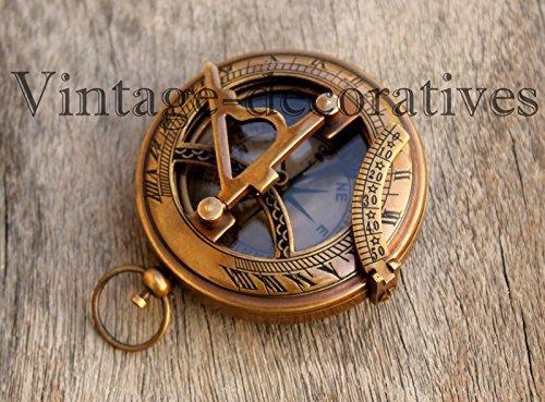 Vintage Nautical Push Button Sundial Compass LID Maritime Compass Antique ()