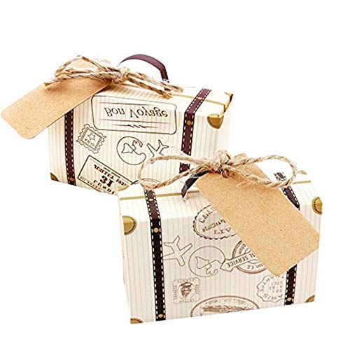 Morinostation 50 pcsTravel Suitcase Boxes with Burlap Twine and Kraft Paper Lable tag for Wedding,Bridal Shower,Baby Shower,Travel Theme Party,Birthday Party -